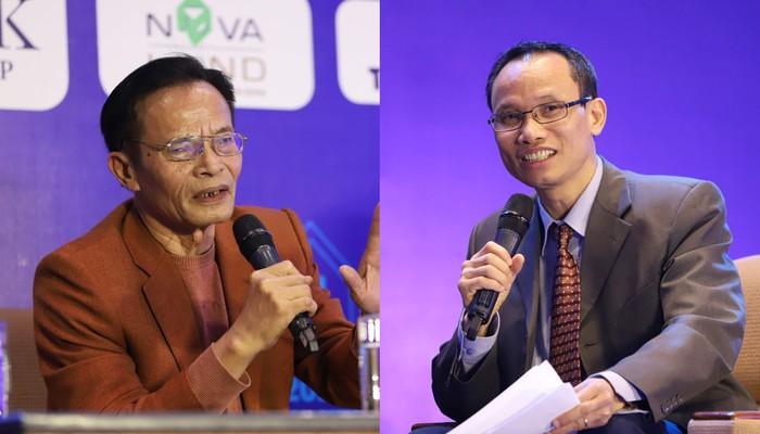 Ông Lê Xuân Nghĩa - Ông Cấn Văn Lực trao đổi tại Diễn đàn Bất động sản sáng ngày 19/12. Ảnh: Quang Phúc