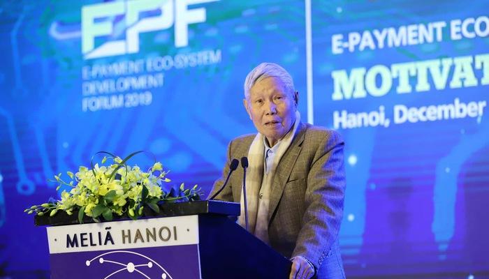 Giáo sư Đào Nguyên Cát, Phó chủ tịch Hội khoa học Kinh tế Việt Nam, Tổng biên tập Thời báo kinh tế Việt Nam phát biểu khai mạc diễn đàn EPF 2019.